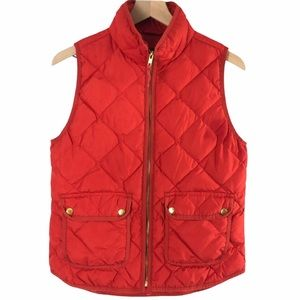 J Crew Quilted Down Puffer Vest Tomato Red - S